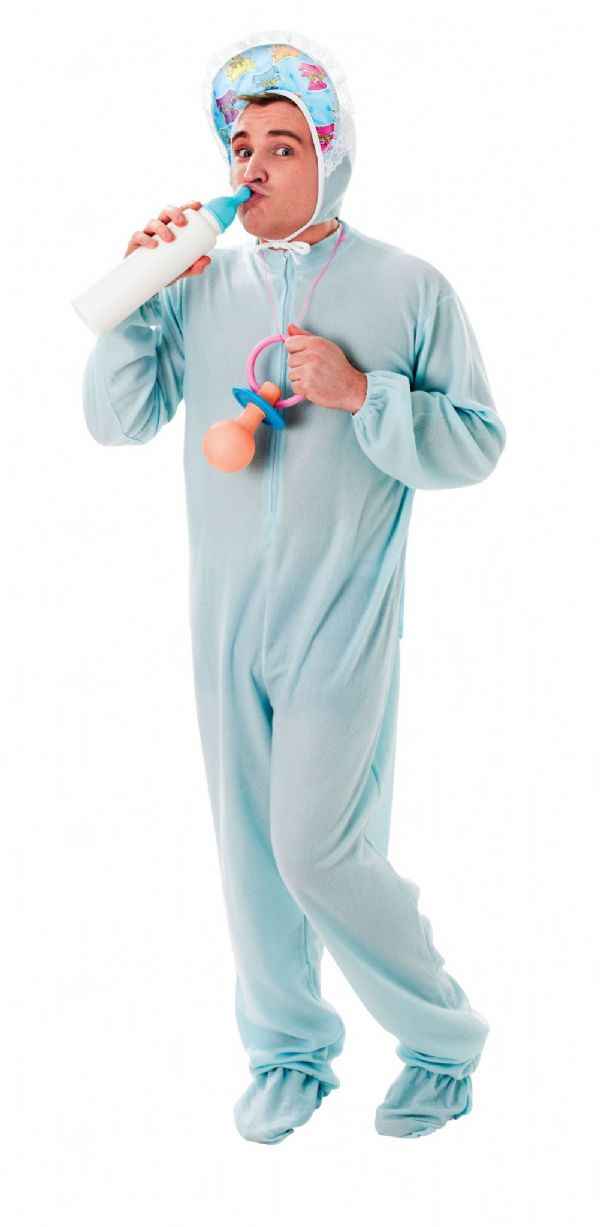 Adults Baby Stag Party Sleepsuit Blue Costume Hen Party Adult Novelty